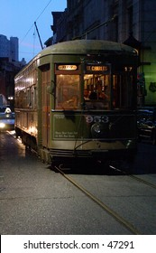 New Orleans Street car at night. St. Charles Ave