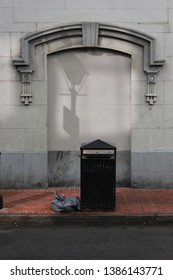 New Orleans street scene, garbage, doorway