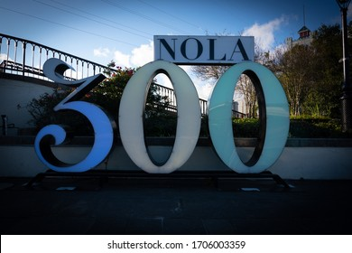 New Orleans, United States: February 27, 2020: NOLA 300 Sign on city street