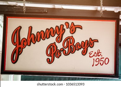 NEW ORLEANS / UNITED STATES - JULY 7, 2011: Johnny's Po-Boys sign, a landmark New Orleans restaurant established in 1950.