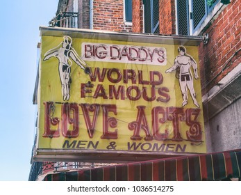 NEW ORLEANS / UNITED STATES - JULY 7, 2011: Big Daddy's World Famous Love Acts, an old strip club neon sign in New Orleans.