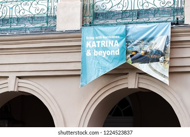 New Orleans, USA - April 22, 2018: Downtown old town chartres street in Louisiana famous town, city, Jackson square, closeup of Hurricane Katrina sign
