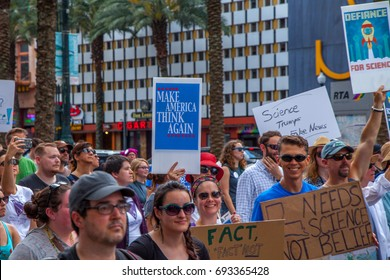 NEW ORLEANS, USA - April 22: Protesters march through the streets of New Orleans as part of the global march for science on April 22 2017