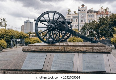 New Orleans, USA - Aug 20, 2017: One of the four original Parrott Rifle (model 1861) cannons on public display at Washington Artillery Park (French Quarter).