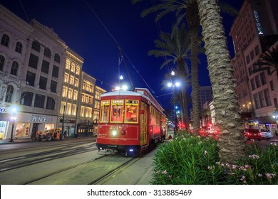 NEW ORLEANS, USA - AUGUST 22: New Orleans Streetcar Line at downtown New Orleans on August 22, 2015. The New Orleans Streetcar line began electric operation in 1893.