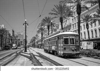 NEW ORLEANS, USA - AUGUST 25: New Orleans Streetcar Line at downtown New Orleans on August 25, 2015. The New Orleans Streetcar line began electric operation in 1893.