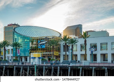 New Orleans, USA - Dec 11, 2017: View of the iconic Audubon Aquarium of the Americas, from the Steamboat Natchez on the Mississippi River.