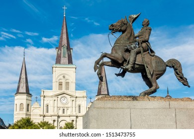 New Orleans, USA - Dec 17, 2017: Close-up view of the commemorative statue of General Andrew Jackson on horseback in Jackson Square. St. Louis Cathedral in the background.