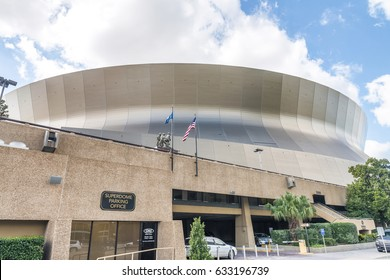 NEW ORLEANS, USA - FEBRUARY 2016: Mercedes-Benz Superdome on a sunny day. It is the home stadium of the New Orleans Saints football team.