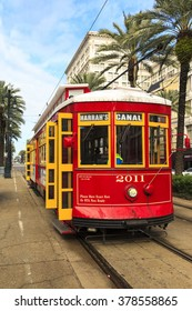 NEW ORLEANS, USA - JAN 22 2016: New Orleans Streetcar Line, Newly revamped after Hurricane Katrina in 2005, the New Orleans Streetcar line began electric operation in 1893.