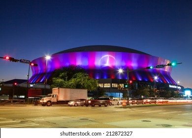 New Orleans, USA - January 23rd: New Orleans Superdome lit up at night just days before the 2013 Superbowl