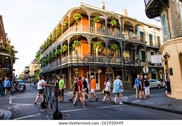New Orleans, USA - July 13, 2015: A Spanish French-inspired building with iron metal balconies in French Quarter Louisiana.