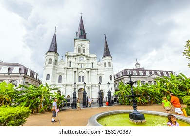 NEW ORLEANS, USA - JULY 15: famous St. Louis Cathedral at Jackson Square, in the  French Quarter on July 15, 2013 in New Orleans, USA. Three Roman Catholic churches have stood on the site since 1718.
