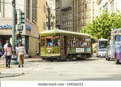 NEW ORLEANS, USA - JULY 17: New Orleans Streetcar Line, July 17, 2013. Newly revamped after Hurricane Katrina in 2005, the New Orleans Streetcar line began electric operation in 1893.