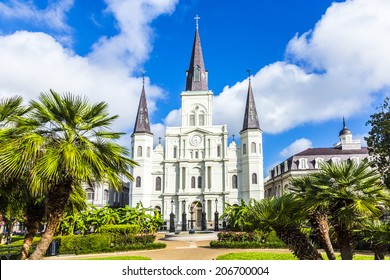 NEW ORLEANS, USA - JULY 17, 2013: Beautiful Saint Louis Cathedral in the French Quarter in New Orleans, USA. Tourism provides a large source of revenue after the 2005 devastation of Hurricane Katrina.