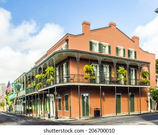 NEW ORLEANS, USA - JULY 17, 2013: houses in historic building in the French Quarter in New Orleans, USA. Tourism provides a large source of revenue after the 2005 devastation of Hurricane Katrina.