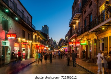 NEW ORLEANS, USA - MARCH 22: The Famous Bourbon Street at nightfall in the French Quarter of New Orleans, Louisiana, United States on March 22, 2015.