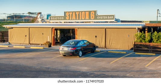 New Orleans, USA - Nov 28, 2017: Station 6 Seafood Oyster Bar along the Metaire-Hammond Highway. The business is closed in the lat afternoon on this day, with only one car in the car park.