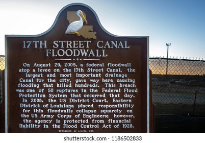 New Orleans, USA - Nov 28, 2017: Information sign regarding the 2008 District Court ruling stands along Bellaire Drive relating to the breach of levee during Hurricane Katrina on August 29, 2005.