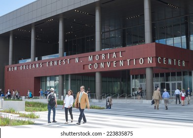 NEW ORLEANS, USA - OCTOBER 12, 2014: Attendees and exhibitors roam in front of the New Orleans Ernest N. Morial Convention Center at the annual meeting of the American Society of Anesthesiologists.