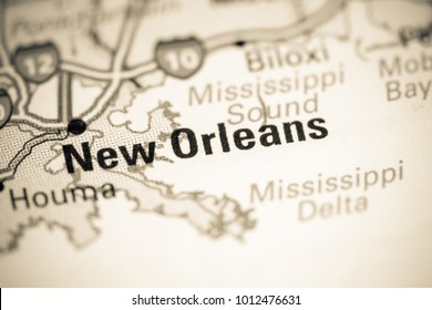 New Orleans. USA on a map.