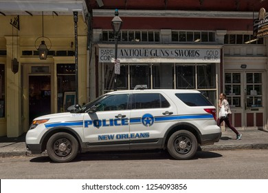 NEW ORLEANS, USA-APRIL 24, 2018 New Orleans City Police car is parked on a street in the French Quarter in New Orleans, Louisiana, USA