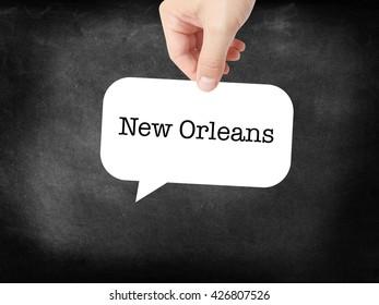 New Orleans written on a speechbubble
