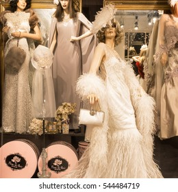 NEW ORLEANS-Dec.24, 2016: French Quarter store window of Fleur de Paris, which says it designs custom millinery and couture for special occasions like weddings, Kentucky Derby, and the Academy Awards.