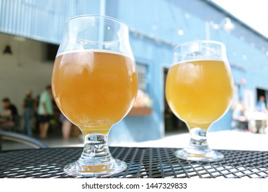 NEW ORLEANS,LA/USA -03-23-2019: Two beers at the Miel Brewery and Taproom in New Orleans, a craft brewery and tasting room