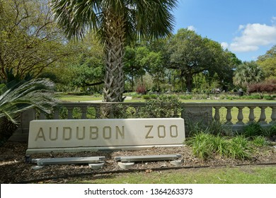 NEW ORLEANS,LA/USA -03-24-2019:The entrance to Audubon Zoo in New Orleans Audubon Park, a popular public city park