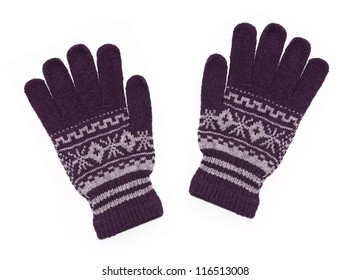 New Pair of Purple Knit Gloves with Pattern isolated on white background