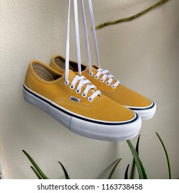 New pair of Vans shoes were taken at the balcony on White background in Bangkok, Thailand by Jaruthat Tangpanichdee the owner on August 25th, 2018.