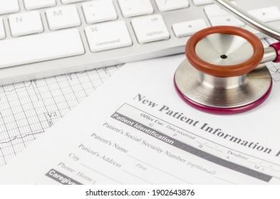 New patient medical record form and stethoscope medical on the table.