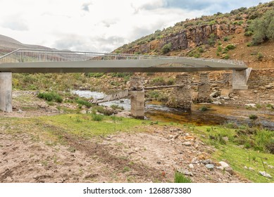 The new pedestrian bridge over the Tra Tra River at Wupperthal in the Cederberg Mountains of the Western Cape Province. The historic old bridge is visible
