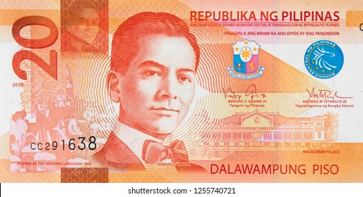 New Philippine 20 peso bill (2010), Philippines currency close up