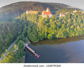 The new pier at Veveri Castle in Brno from above, Czech Republic