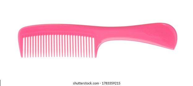 New pink hair comb isolated on white, top view