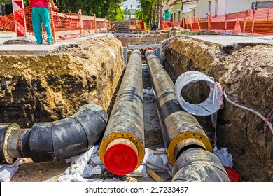 New pipeline in the process of building, under construction