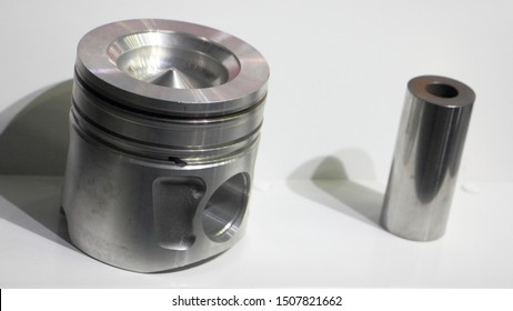 New piston with piston pin of modern diesel truck engine, car motor repair parts