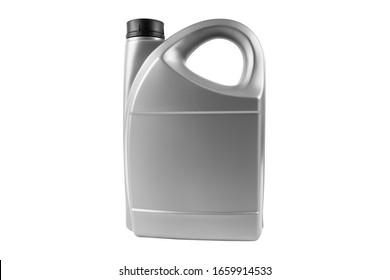 New plastic oil canister isolated on white background.  Storage Tank. Canister for gasoline, diesel and gas. Plastic canister for technical liquids isolated over white with clipping path.