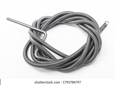 new plumbers snake on a white background