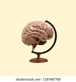 New pop art. Concept Brain Globe.