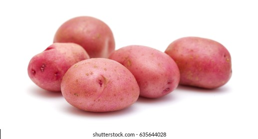 new potato with red skin isolated on white background