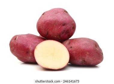 New potato tuber heap isolated on white background cutout