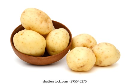 new potatoes in bowl isolated on white