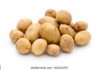 New potatoes isolated on white background.