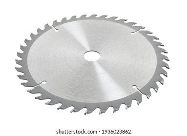 new power saw blade closeup on white isolated background