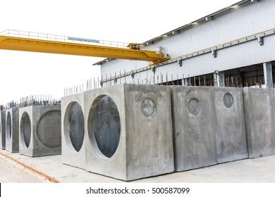 The new  precast concrete manholes in factory