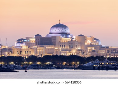 New Presidential Palace illuminated at night. Abu Dhabi, United Arab Emirates