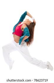 New pretty modern slim hip-hop style woman model dancer break dancing isolated on a white studio background
